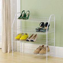 China supplier high quality wholesale new arrival 3 tiers fancy wall mounted metal wire clear plastic shoe rack for retail