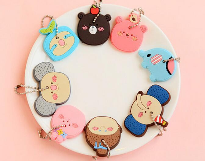 Hot selling fashion mini 3D soft pvc cute cartoon animals shaped keychain,promotional wholesale cheap keychain, rubber keychain