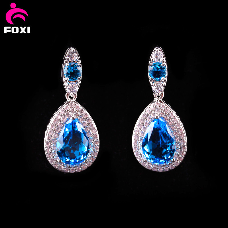 new products 2016 luxury pear gemstone bridal hanging earrings stud