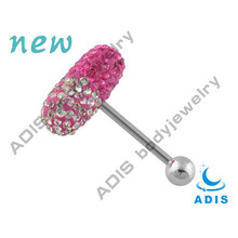 Wholesale surgical steel vibrating tongue barbell crystal tongue piercing