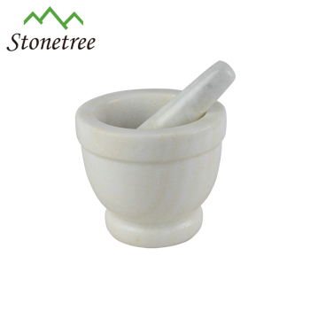 Deep White Marble Mortar and Pestle