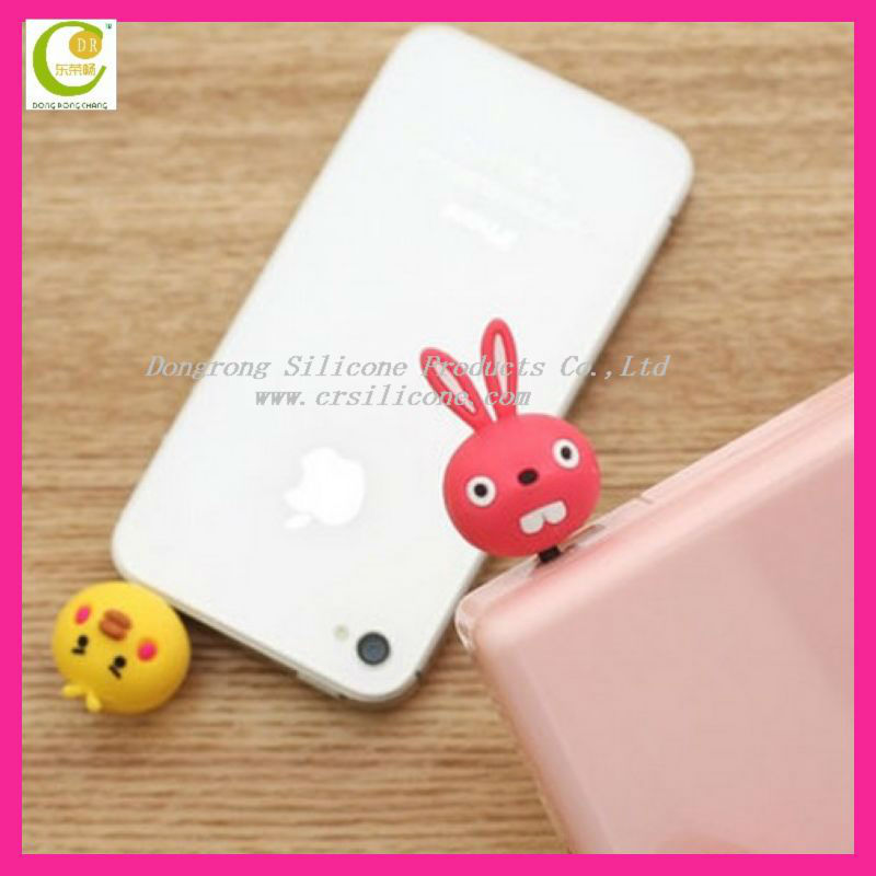 New arrival silicone dust plug ear cap for phone,3d customised cute beauty dust proof plug for phones