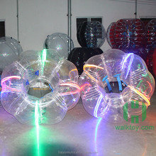 Crazy 0.8mm PVC Dia 1.5m human bumper ball led, led adult sized bubble soccer for sale in amusement park