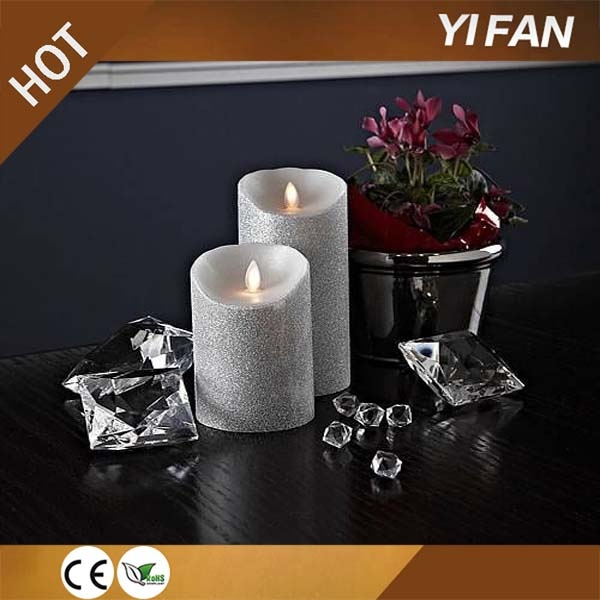3 IVORY LED CANDLES MOVING WICK FLAMELESS VANILLA SCENTED