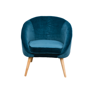 ODM&OEM Alibaba China Supplier Ginger Antique Easy Chairs Arm Wooden Armrest Velvet Chair Blue