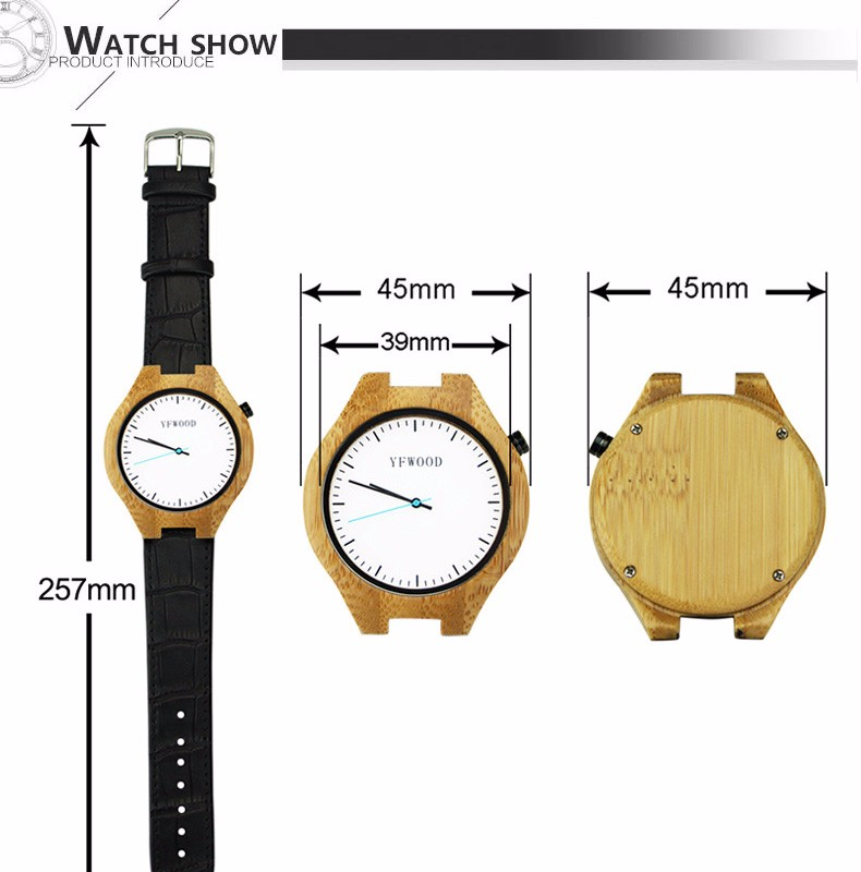 Luxury wholesale custom logo natural bamboo wooden watch 2017 unisex with leather band