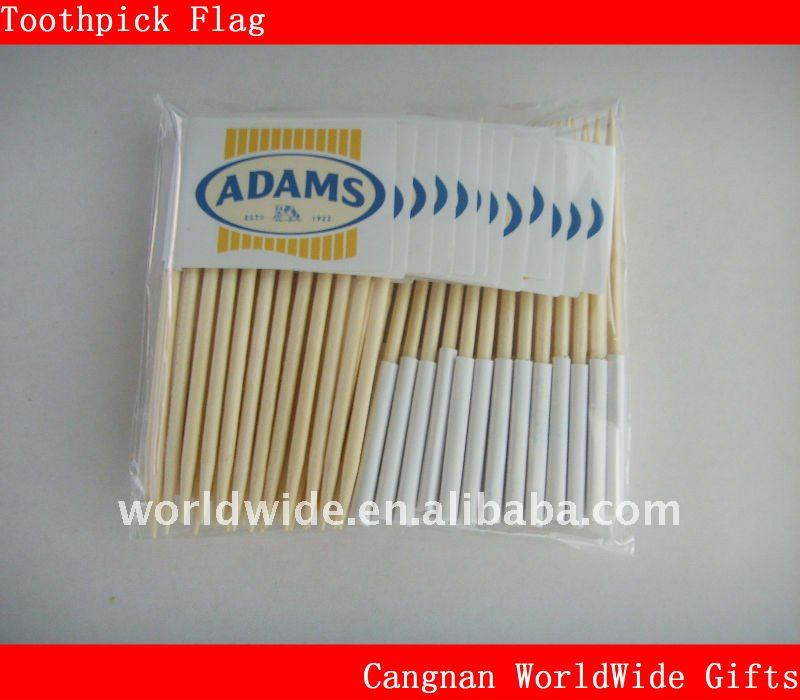 make toothpick paper flag with stick