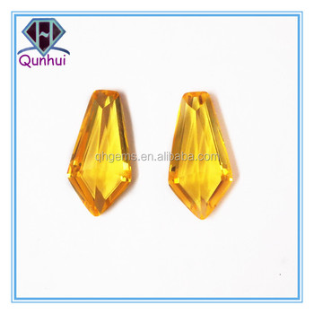 fancy glass tie-shaped yellow cubic zircon