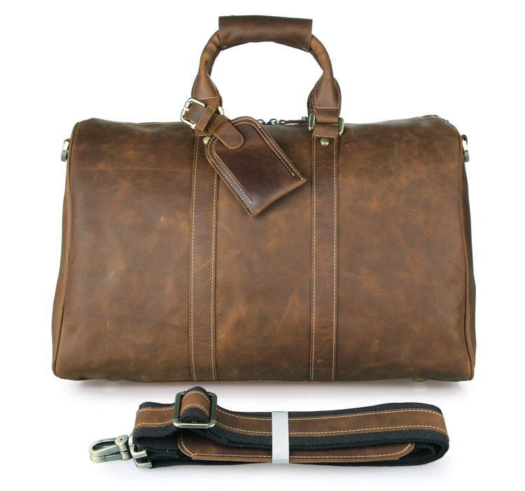 7077B Mens Leather Travel Bag, Leather Travel Bags Men