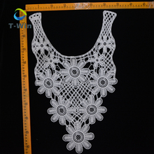 Ladies dress chemical milky lace yarn collar water soluble cotton embroidered neckties crochet lace collar pattern for dress