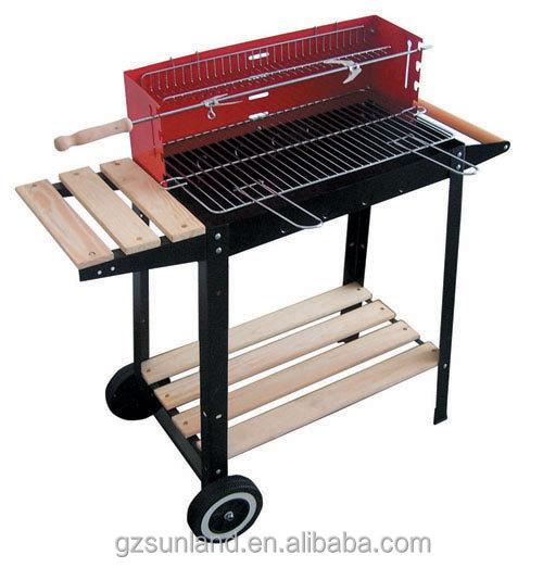 Family use economic rectangular bbq charcoal grill with trolley