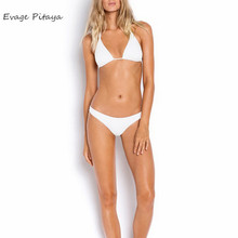 halter White color backless V neck two piece bikini hot sale Brazilian push up bikini