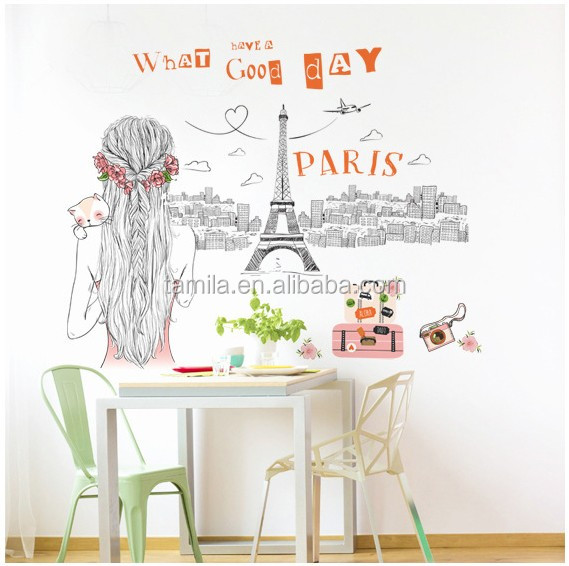 World Travel Paris Art Decals Eiffel Tower DIY Removable Wall Stickers Kid Bedroom Home Decor for Baby Room Decoration