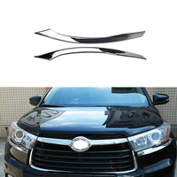 Car Moulding Strip Decorative Plastic Plating Trim Cover Chrome Front Headlight Eyebrow Strips For Toyota Highlander 2014 2015