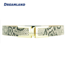 Lady Dress Snake Pattern PU Belts with Elastic Webbing Adjustable Length