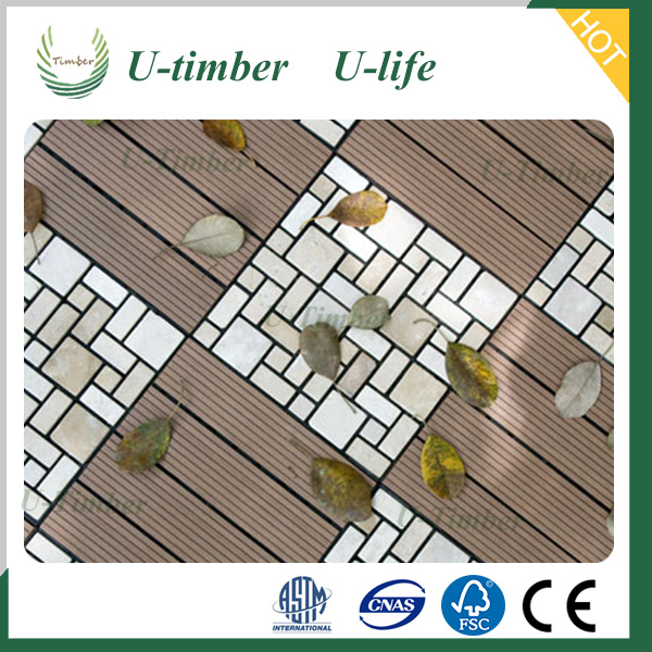 WPC outdoor cheap composite decking tiles