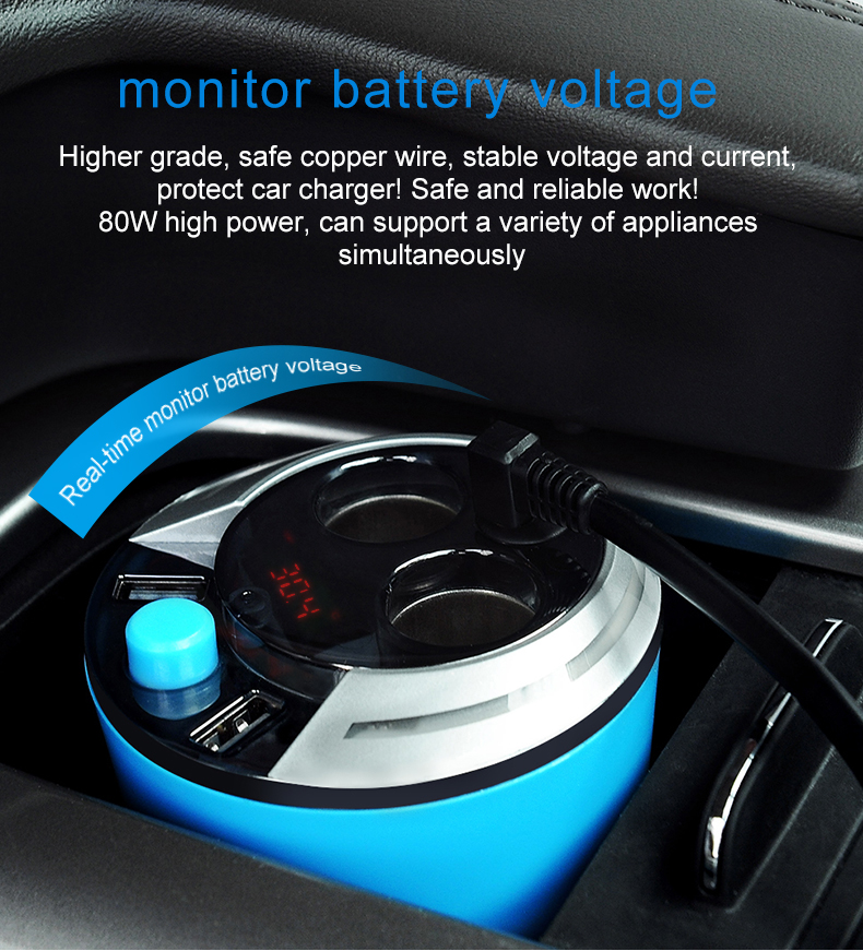 GXYKIT ZNB01 Quick Charging Multi-function Charger Car Power Adapter Dual USB Ports 3.1A and 2-Socket Car Charger