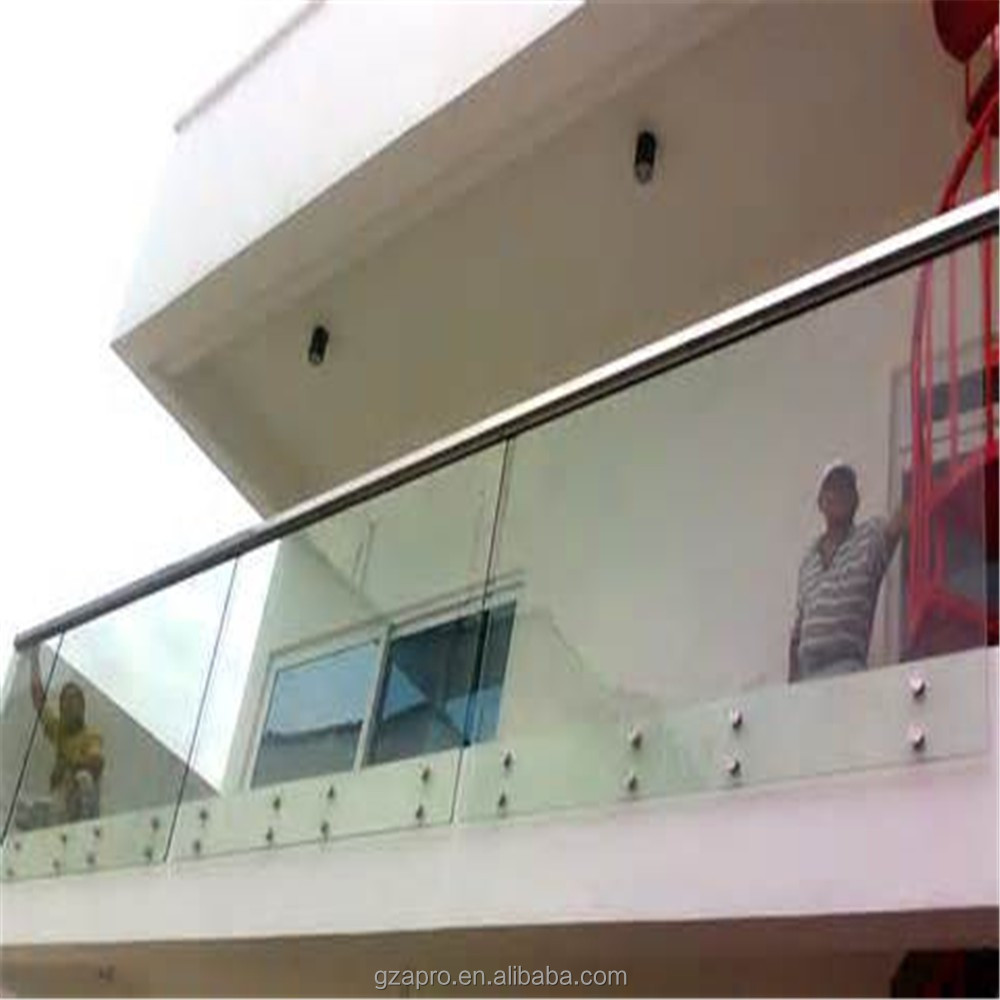 2015 balcony clear glass railings design stair handrail for Balcony glass railing designs pictures