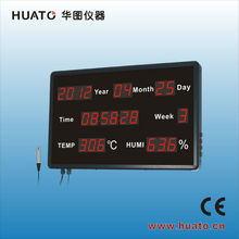 Interrogation room use red LED display thermometer hygrometer with date and time display -HE218B
