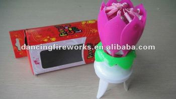 Rotated Flower Birthday Cake Candles Toy Fireworks