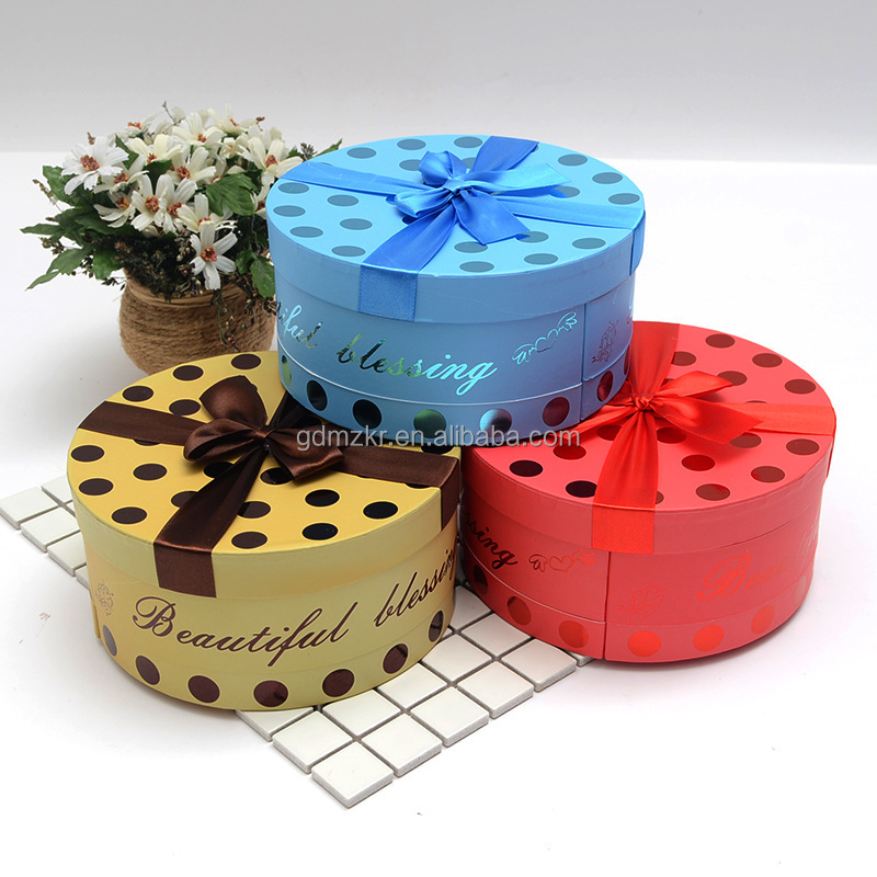 creative chocolate candy round circle hat box packaging wholesale with dot / lid