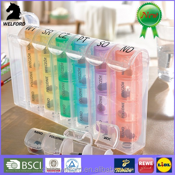 Portable Private Label Monthly 28 Day Plastic Pill Box for Sale