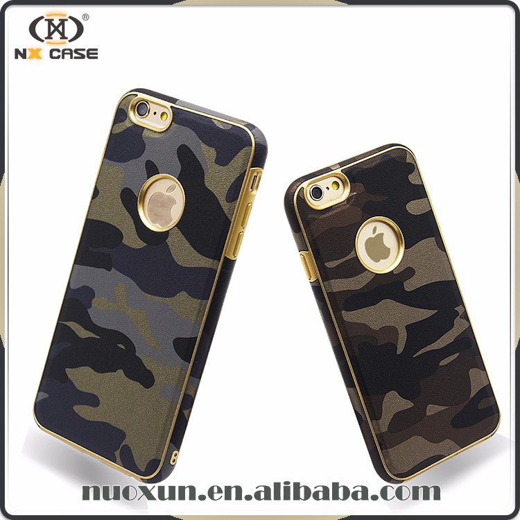 Factory direct sale camoflage soft TPU leather case supply for iphone 6s plus case