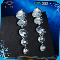 Popular crystal link rhinestone earrings silver 925 available