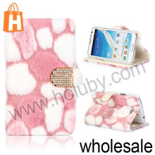 Fluffy Villi Fur Magnetic Stand Flip Leather Case for Samsung Galaxy Note 2 N7100