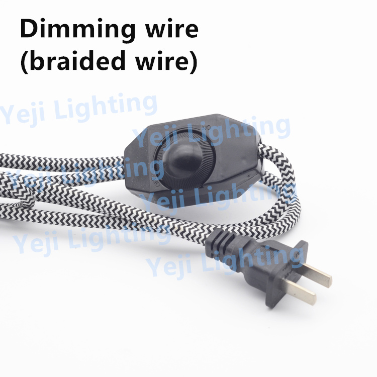 Colorful braided cable <strong>wire</strong> with dimmer switch 2-pin plug cable For table lamps, floor lamps Lighting accessories diy