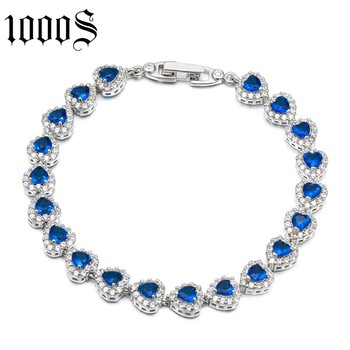 fashion style rhodium plating silver bracelet with heart shape around