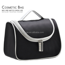 2016 Black promotional SMALL MOQ make up Toiletry cosmetic bag wholesale,women/men cosmeitc bag