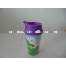 350ml plastic double wall covering cup