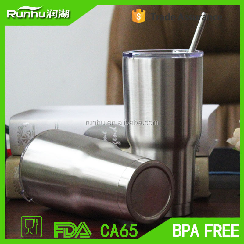 OEM 30 oz stainless steel vacuum insulated tumbler with straw RH525-30