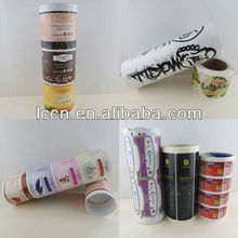 guangzhou label printing factory printed customized adhesive paper sticker rolls with flexo printing machine