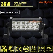 OWLLIGHTS 36w Led off road light bar(7.5inch 36W dual row light bar, 3w led chips),GORE led 4wd 4X4 Truck