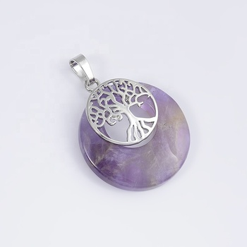 Gemstone Semi-Precious Necklace Round Pendant Tree Of Life Large Natural Stone Pendants Wholesale For Jewelry Making