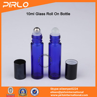 10ml Roll On Glass Blue Bottle With Metal Glass Roller For Perfume Deodorant