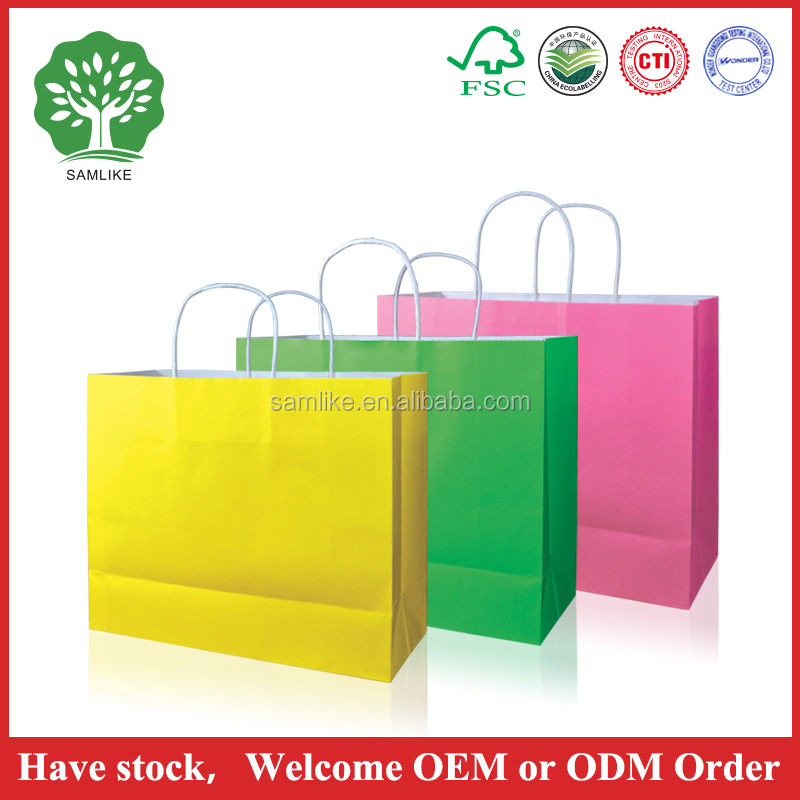2016 HOT SALES Luxury Recycled Top Quality retail kraft paper bag