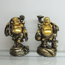 Polyresin handicraft lucky golden laughing buddha for home decoration