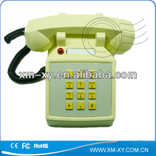 yellow cute classical landline corded telephone with imcoming call flash,80s telephones