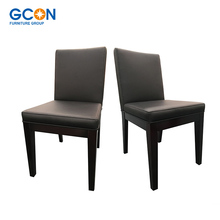 Hotel leather dining chair wood frame upholstered, chairs for restaurant