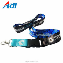 Polyester material cheap double clip custom double woven lanyards no minimum order