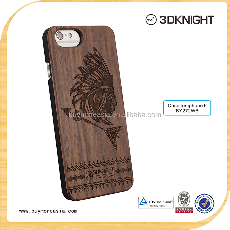 Factory Original Aluminum Bamboo Wooden Case for iphone 6 / Unique wood mobile phone case for iphone 6