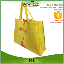 customized Non woven fabric recyclable tote shopping advertising tote bag with satin ribbon alibaba trade assurance