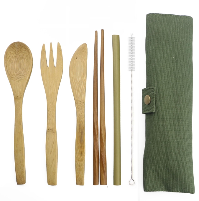 Flatware set  caddy  portable travel  bamboo flatware