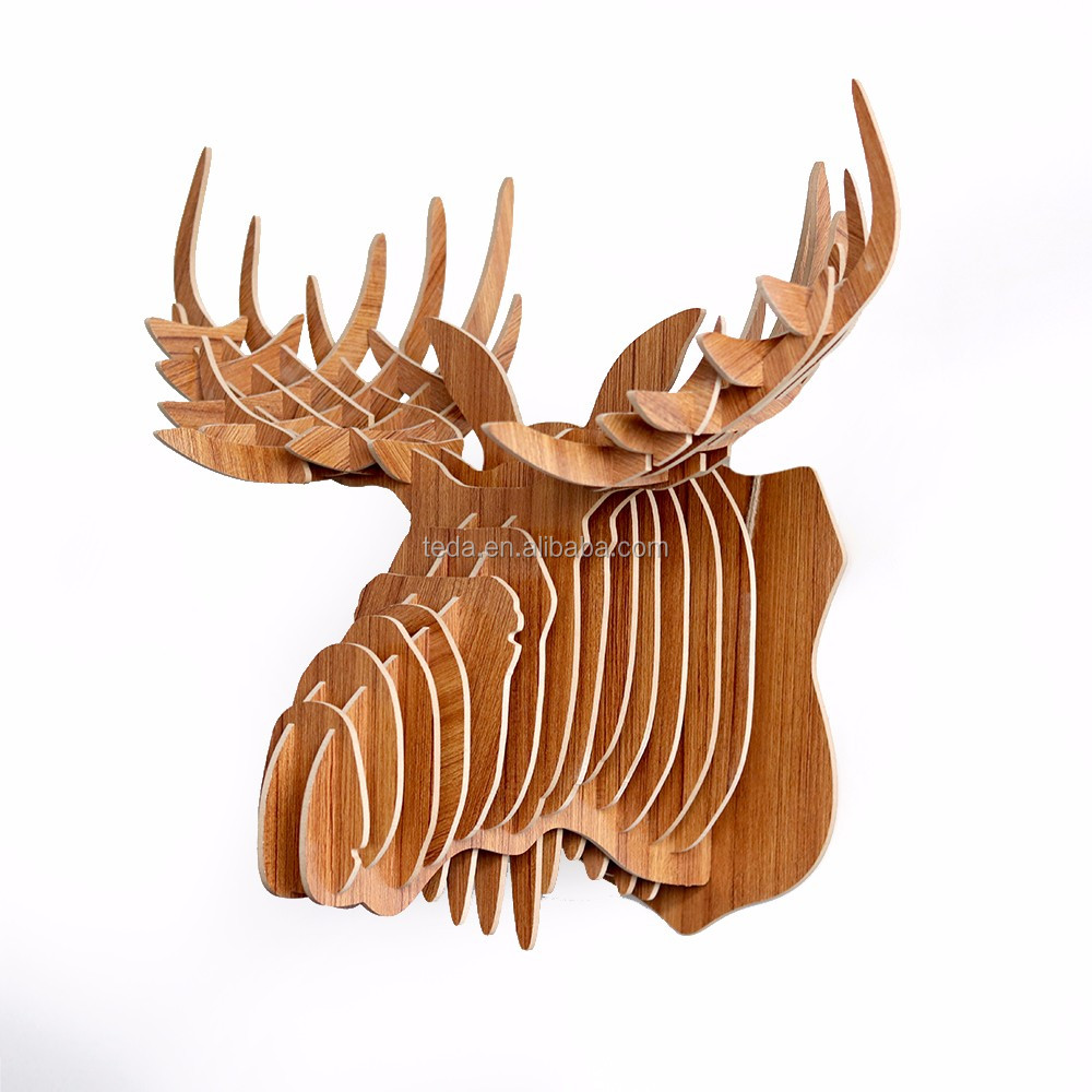 DIY 3D Wood Animal Head Assembly Puzzle Art Model Toy Home Decor,horse