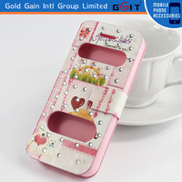 Double Windows Flip Cover Back Case For Samsung S5 i9600, With Two-view Windows Case For Galaxy S5 i9600