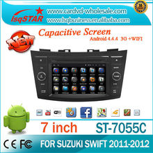China manufacture Android 4.4 3g wifi DVD audio radio gps navigation and bluetooth for SUZUKI SWIFT 2011-2012 car stereo