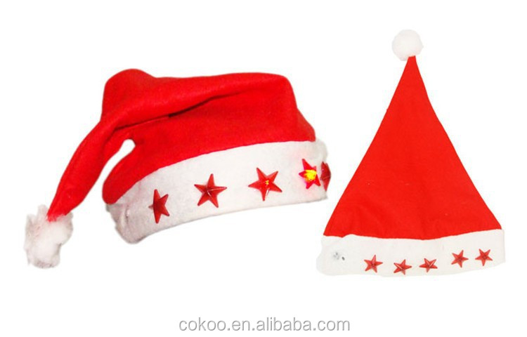 OEM wholesale Led Flashing Christmas Hats XMAS santa claus'cap Light Up Caps Stars Non-woven party Christmas hats